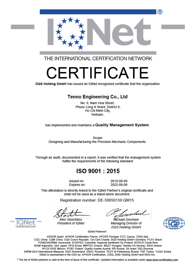 ISO 9001 : 2015 Certificate for Tenno Engineering Co., Ltd.