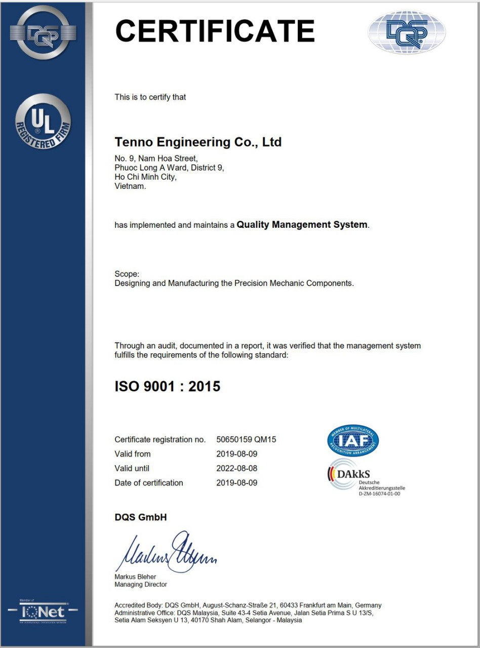 Quality Management System DQS ISO 9001 : 2015
